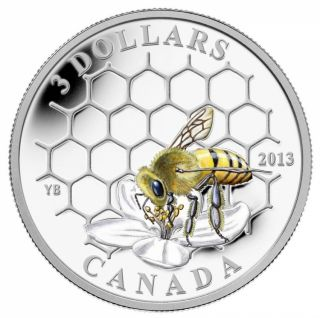 2013 - 1/4 oz Fine Silver Coin - Animal Architects: Bee & Hive $3.00