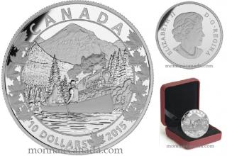 2015 - $10 - 1/2 oz. Fine Silver - Canoe Across Canada - #3 Magnificent Mountains