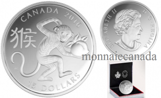 2016 - $15 - 1 oz. Fine Silver Coin – Year of the Monkey
