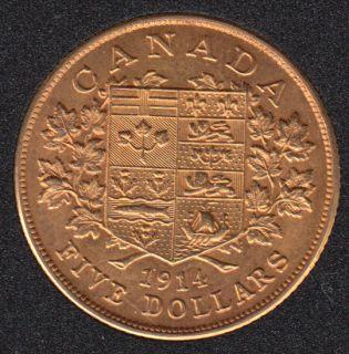 1914 Canada $5 Dollars Gold Coin