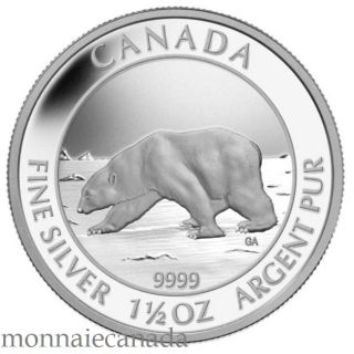 2013 - $8 - 1 1/2 oz Fine Silver Coin - Polar Bear