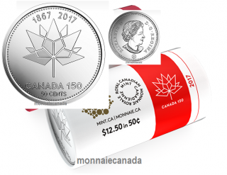 2017 - 50 cents (Canada 150 Official Logo) Roll