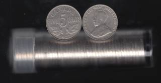 1927 Canada 5 Cents - Roll 40 Coins in Plastic Tube