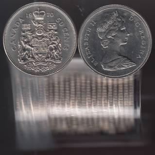 1970 Canada 50 Cents - Half Dollar - BU ROLL 22 Coins - UNC