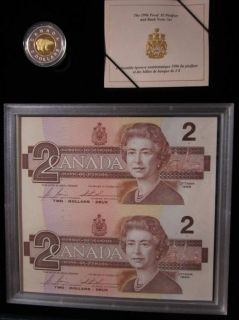 1996 $2 Sterling Silver & Gold Plated Piedfort Coin $2 Replacement Notes Set
