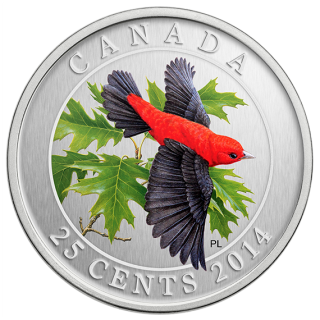2014 - 25¢ - Scarlet Tanager - Coloured Coin