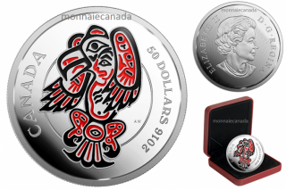 2016 - $50 - 5 oz. Fine Silver Coin with Enamel – Mythical Realms of the Haida Series: The Eagle