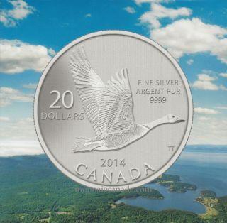 2014 - $20 for $20 Fine Silver Coin - Canada Goose