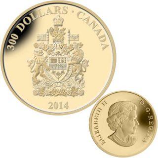 2014 - $300 - 14-Karat Gold Coin - Canada Coat of Arms