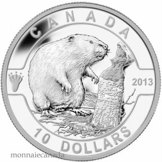 2013 - $10 - 1/2 oz Fine Silver Coin - O Canada series - The Beaver