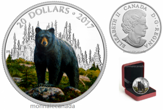2016 - $20 - Fine Silver Coin - Majestic Animal  - The Bold Black Bear
