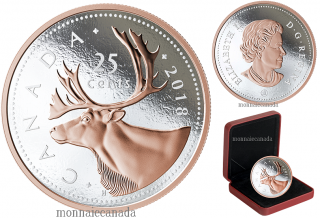2018 - 25¢ - 5 oz. Pure Silver Coin with Rose Gold Plating - Big Coin Series: Caribou