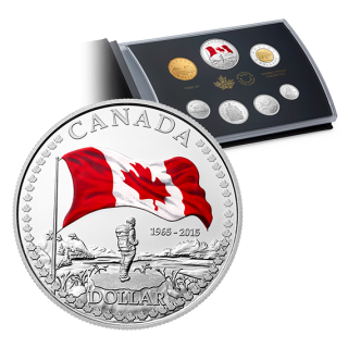 2015 - Pure Silver Proof Set With Colour - 50th Anniversary of the Canadian Flag