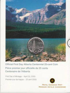 2005 - 25-cents coin Official first day Alberta Centennial