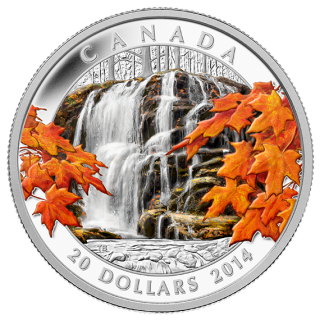2014 - $20 - 1 oz. Fine Silver Coin - Autumn Falls