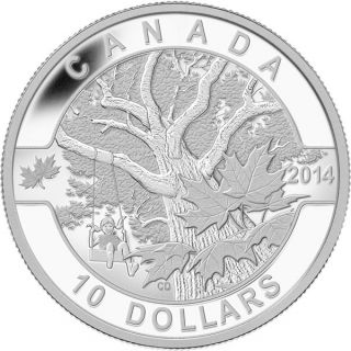 2014 - $10 - 1/2 oz. Fine Silver Coin - O Canada - Down by the Old Maple Tree