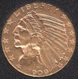 US 1909 D Liberty Head Half Eagle $5 Dollar Gold Coin 8.359 gr. .900 Gold .24187oz AGW