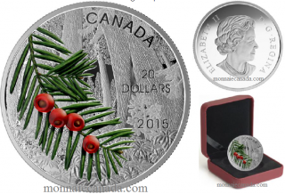 2015 - $20 - 1 oz. Fine Silver Coin - Forests of Canada: Columbian Yew Tree