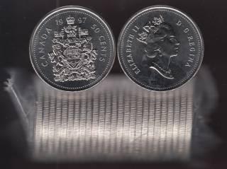 1997 Canada 50 Cents - Half Dollar - BU ROLL 25 Coins - UNC