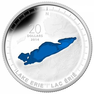 2014 - $20 - 1 oz. Fine Silver Coin - Lake Erie