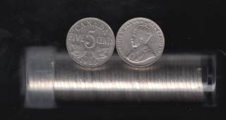 1935 Canada 5 Cents - Roll 40 Coins in Plastic Tube