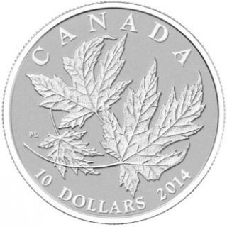 2014 - $10 - 1/2 oz. Fine Silver Coin - Silver Maple Leaves