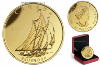 2016 - $200 - 1 oz. Pure Gold Coin – Tall Ships Legacy: Bluenose