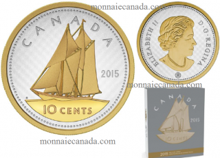 2015 -10 Cents - 5 oz. Fine Silver Gold-Plated Coin – Big Coin Series: 10 Cent