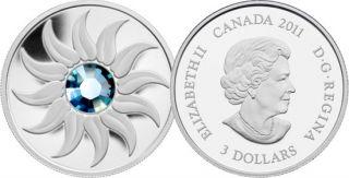 2011 - $3 - Fine Silver Coin - March Birthstone (Aquamarine)
