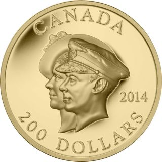 2014 - $200 - Pure Gold Ultra-High Relief Coin - 75th Anniversary of the First Royal Visit