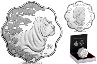 2018 - $15 - Pure Silver Lunar Lotus Coin - Year of the Dog