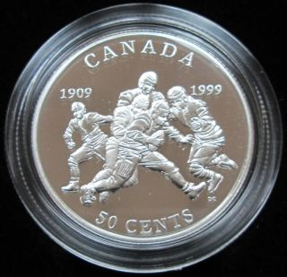 1999 CANADA 50 Cents Sterling Silver - First Grey Cup Football