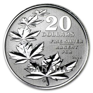 2011 - $20 - Dollars Fine Silver 99,99% - Maple Leaf Coin  NO TAX