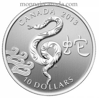 2013 $10 Fine Silver Coin - Year of the Snake - TAX Exempt