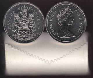 1989 Canada 50 Cents - Half Dollar - BU ROLL 25 Coins - UNC