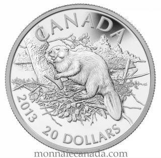 2013 - $20 - 1 oz Fine Silver - The Beaver