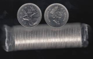 1995 Canada 25 Cents - BU ROLL 40 Coins - UNC