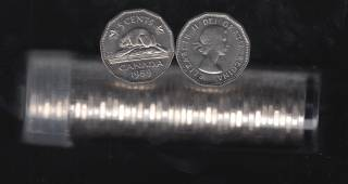 1959 Canada 5 Cents - Roll 40 Coins in Plastic Tube