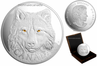 2017 - $250 - Pure Silver One-Kilogram Coin – In the Eyes of the Timber Wolf