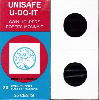 PACK OF 20 CARDBOARD FLIPS 2X2 COINS **25 cents size**