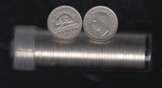 1939 Canada 5 Cents - Roll 40 Coins in Plastic Tube