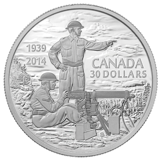 2014 - $30 - 2 oz. Fine Silver Coin - Canadian Machine Gunner in Training