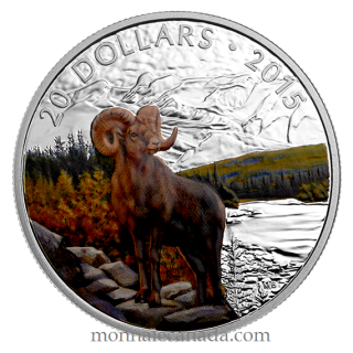 2015 - $20 - 1 Oz Fine Silver - Majestic Animal - Big-Horned Sheep