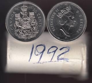 1992 Canada 50 Cents - Half Dollar - BU ROLL 25 Coins - UNC
