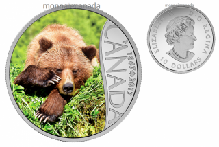 2017 - $10 - Canada's 150th Coin Series - Grizzly Bear - 1/2 oz. Pure Silver