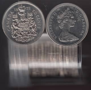 1972 Canada 50 Cents - Half Dollar - BU ROLL 21 Coins - UNC