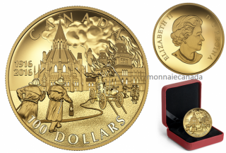 2016 - $100 - 14-karat Gold Coin – Centennial of the Parliament Buildings Fire