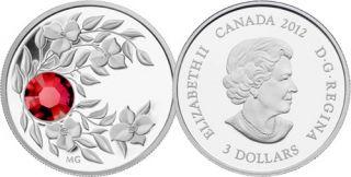 2012 - $3 - July Birthstone (Ruby) - Fine Silver Coin