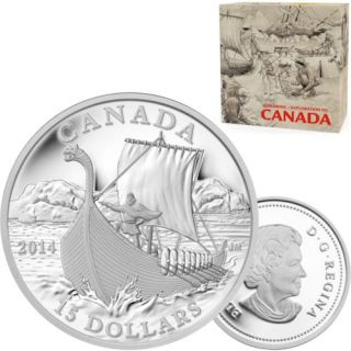 2014 - $15 - Fine Silver Coin - Exploring Canada - The Vikings