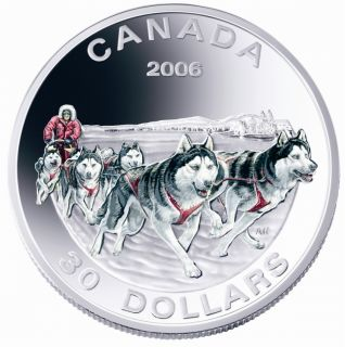2006 - $30 - Sterling Silver Coin - Dog Sled Team
